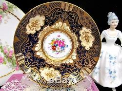 CROWN STAFFORDSHIRE tea cup and saucer cobalt blue painted center rose teacup
