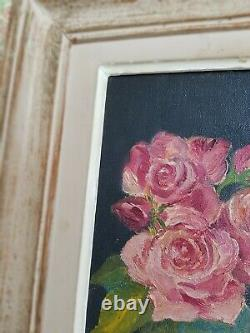 Charming Vintage French Oil Painting On Canvas Of Roses Floral Framed