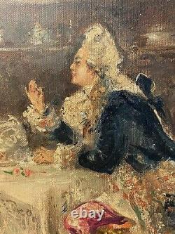 Chic Antique French Oil On Canvas Couple Dining Marie Antionette Roses Shabby AF