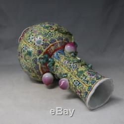 China old porcelain Qing qianlong famille rose Hand painting flower Peach vase