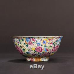 China old porcelain Qing yongzheng famille rose Hand painting flower bowl