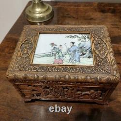 Chinese 19th Century Painted Famille Rose Plaque Set in Wood Carved Box
