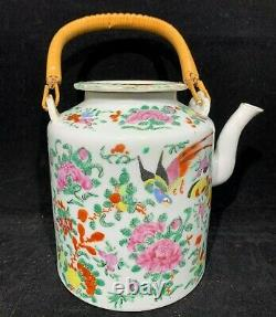 Chinese Antique Hand Painted Famille Rose Porcelain Teapot