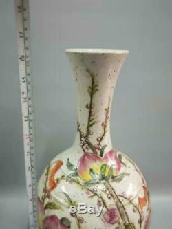 Chinese Antique Hand-painting Famille Rose Peach Porcelain Vase Collection Old
