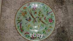 Chinese Canton Celadon Ground Famille Rose Painted With Birds & Butterflies
