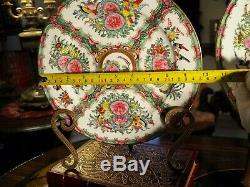 Chinese Export Famille Rose 10 Plate Canton Porcelain Rose Medallion Hand Paint