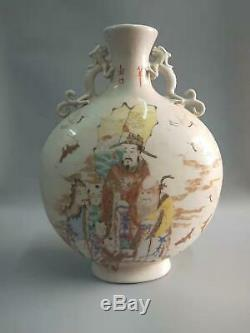 Chinese Famille Rose Figures Vases Double-Ears Hand-painting Marks HongXian