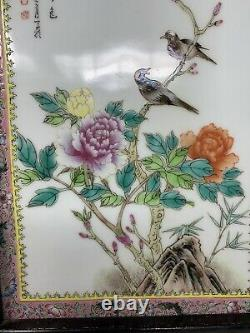 Chinese Famille Rose Painted Porcelain Figural Calligraphy Framed Plaque Birds
