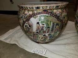 Chinese Famille Rose Pottery Planter Fish Bowl-Painted Scenes