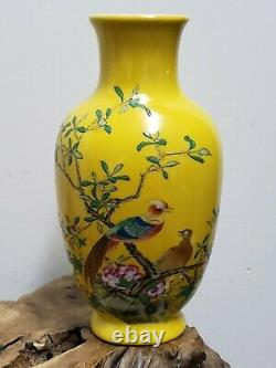 Chinese Yellow Base With Famille Rose Faience Enamel painted Porcelain Vase