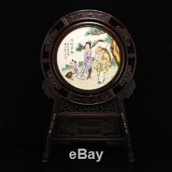 Chinese Zitan Wood Inlay Famille Rose Porcelain Plaque Painting Screen