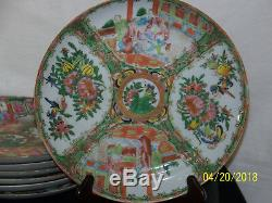 Chinese c1800's Rose Medallion Set of 8 Hand Painted Plates