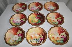 Coronet Limoges Set of 9 Antique Hand Painted Dessert Plates ROSES Bronssillon