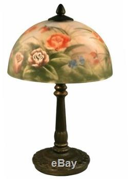 Dale Tiffany 16 in. Antique Bronze Rose Dome Table Lamp Hand Painted Glass shade
