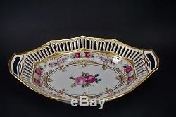 Dresden Ambrose Lamm Hand Painted Porcelain Reticulated Pierced Bowl Gold Roses