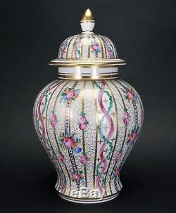 Dresden Carl Thieme Hand Painted Roses and Ribbons Large 10 1/2 Porcelain Jar