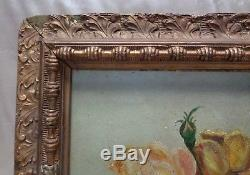 E. E. R Estate Found Antique 1888 Variety of Roses Oil Painting on Wood Panel
