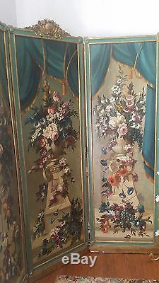 Elegant Romantic 1920's 3 Antique Oil Floral Paintings Roses Ribbons Urns Screen