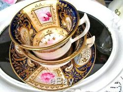 English Porcelain Boyle c1820 tea cup and saucer trio painted teacup pink rose