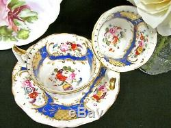 English Porcelain Yates 1825 tea cup and saucer trio painted floral teacup rose