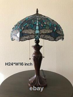 Enjoy Tiffany Style Table Lamp Sea Blue Stained Glass Dragonfly Vintage W16H24