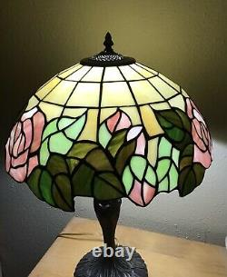 Enjoy Tiffany Style Table Lamp Stained Glass Rose Flowers Pink Green W17H24