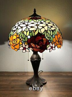 Enjoy Tiffany Style Table Lamp Stained Glass Rose Flowers Vintage ET1603 W16H24