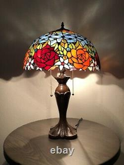 Enjoy Tiffany Table Lamp Stained Glass Rose Flower Antique Vintage W16H24