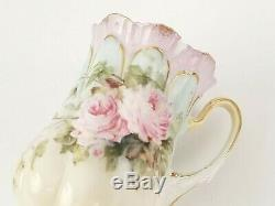 Exquisite Antique RS Prussia Chocolate Pot 8 pc Set Hand Painted Pink Roses