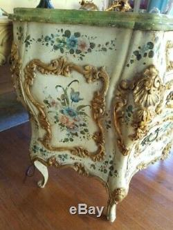 Exquisite Romantic Vintage Hand Painted Roses Italian Bombe 3 Drawer Chest