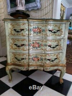 Exquisite Vtg Hand Painted Italian Curvy 3 Drawer Chest Loaded With Pink Roses