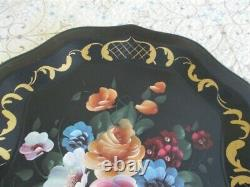 Extra-Large Mint Hand Painted Pink Blue Apricot Roses Vintage Tole Mantle Tray