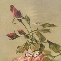 FAB Antique FRENCH OIL ROSE PAINTING on CANVAS Zinc Pitcher Signed Dated 1938