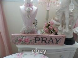 Fab Original Christie Repasy HP Hand Painted Shabby Pink Rose Pray Plaque Sign