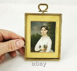 Fine 1830 c. Antique Miniature Watercolor Painting Young Girl with Rose