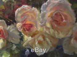 Fine 20th Century English Impressionist Still Life Pink Roses Oil Painting