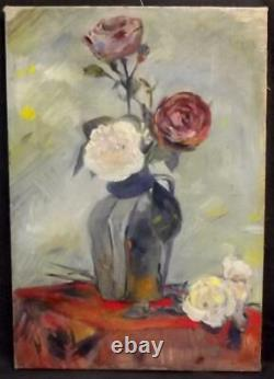 Fine JEAN LUBET Antique French SURREALIST Still Life Oil Painting of Vase Roses