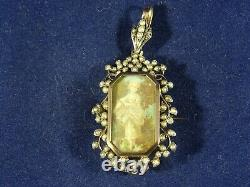 French 18th Century 18ct Rose Gold Pendant Locket/Brooch Painting with Pearls