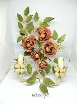 French 1950's Hand painted Toleware wall sconce light, Roses, Working condition
