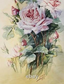 French Antique Roses Painting E938 C Klein Signed Watercolor