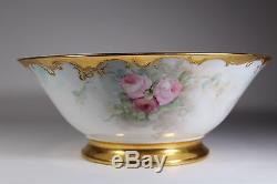 French Hand Painted With Roses & Raised Gold Serving Bowl