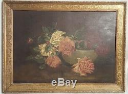 GORGEOUS Antique Rose Oil Painting Pink & White Roses Ornate Gold Frame Signed