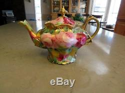 GORGEOUS! Antique Unmarked Nippon Teapot Hand Painted Roses Gilt