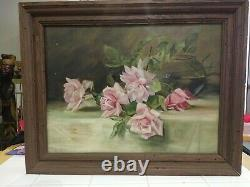 GORGEOUS vintage SHABBY CHIC SIGNED ROSE OIL PAINTING in Wooden Frame