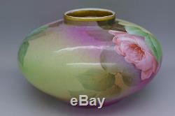Ginori Firenze ware Hand Painted Artist Signed Roses Vase Gold Must See Estate