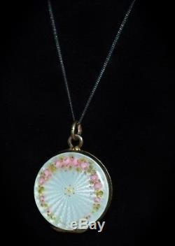 Gorgeous Antique 835 SILVER Hand Painted ENAMEL GUILLOCHE Roses LOCKET Necklace