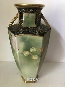 Gorgeous Antique NIPPON Hand Painted Porcelain Flower Floral Roses Vase 11 Tall
