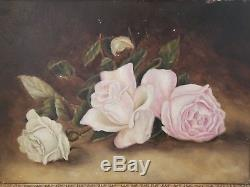 Gorgeous Antique Oil Painting On Board Pink Roses Gesso Frame 18 X 14 1/2