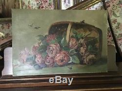 Gorgeous Antique Oil Painting Red Roses Basket With Roses Bumblebees 1880-1930
