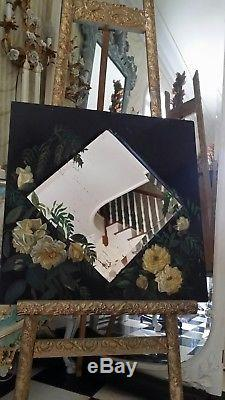Gorgeous Antique Victorian Yellow Roses Painting Frame Shabby Bevelled Mirror